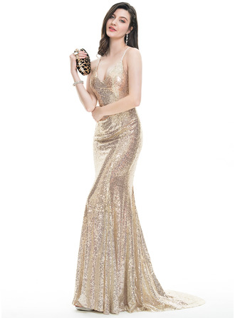 Trumpet/Mermaid V-neck Sweep Train Sequined Prom Dresses With Sequins