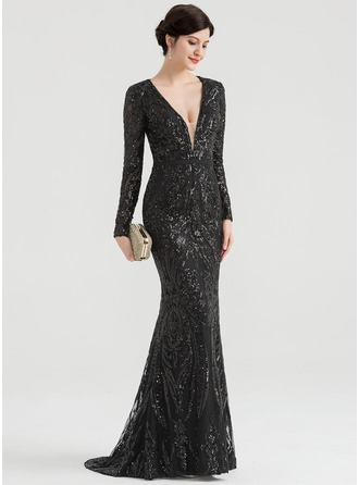 Trumpet/Mermaid V-neck Sweep Train Sequined Evening Dress