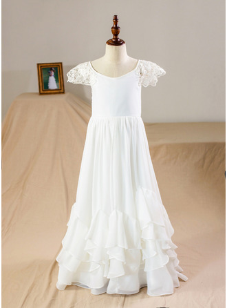 Floor-length Flower Girl Dress - Chiffon Short Sleeves Scoop Neck