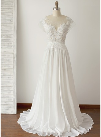 Scoop Neck Floor-Length Chiffon Wedding Dress