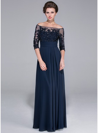 Off-the-Shoulder Floor-Length Chiffon Mother of the Bride Dress With Beading Appliques Lace Sequins