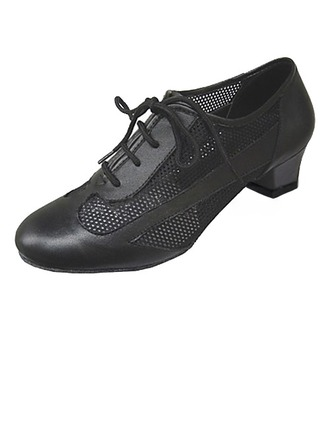 Women's Real Leather Heels Pumps Practice With Hollow-out Dance Shoes