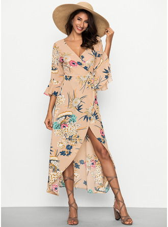 Polyester With Print Asymmetrical Dress