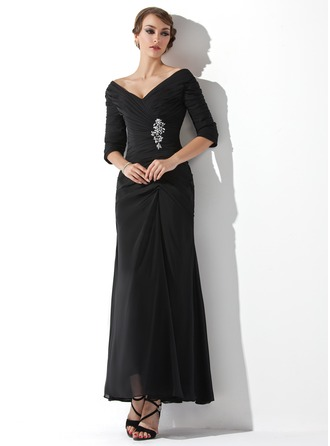Off-the-Shoulder Ankle-Length Chiffon Mother of the Bride Dress With Ruffle Beading