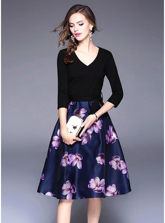 Polyester With Stitching/Print Knee Length Dress