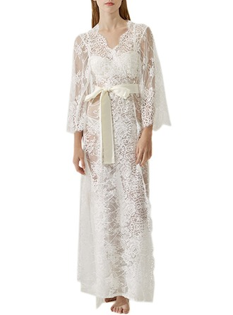 Bride Lace With Ankle-Length Satin & Lace Robes
