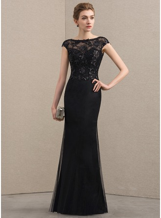 Sheath/Column Scoop Neck Floor-Length Tulle Sequined Mother of the Bride Dress With Beading