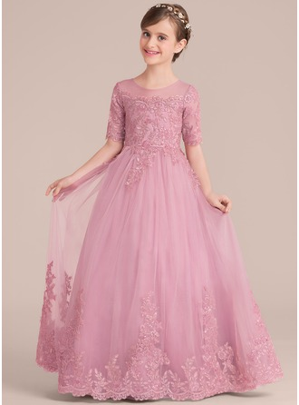 Floor-length Flower Girl Dress - Tulle Lace 1/2 Sleeves Scoop Neck With Sequins