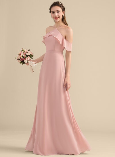 A-Line/Princess V-neck Floor-Length Chiffon Bridesmaid Dress With Bow(s) Cascading Ruffles