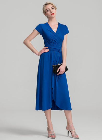 A-Line/Princess V-neck Asymmetrical Jersey Mother of the Bride Dress With Ruffle