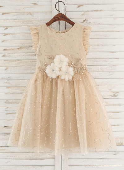A-Line Knee-length Flower Girl Dress - Tulle Sleeveless Scoop Neck With Flower(s)/Rhinestone