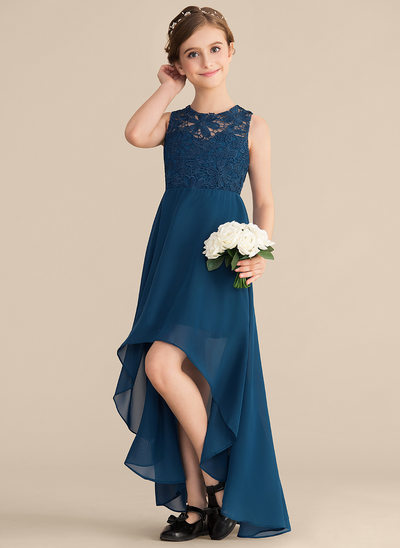 A-Line/Princess Scoop Neck Asymmetrical Chiffon Lace Junior Bridesmaid Dress