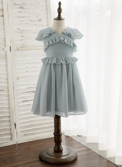 A-Line Knee-length Flower Girl Dress - Chiffon Sleeveless V-neck With Ruffles