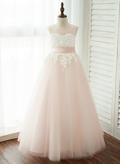 A-Line/Princess Floor-length Flower Girl Dress - Tulle/Lace Sleeveless Scoop Neck With Appliques (Detachable sash)