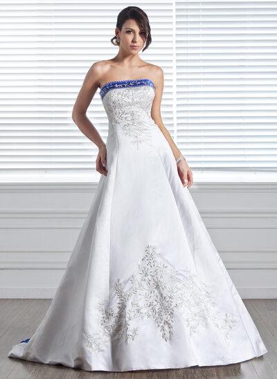 Платье для Балла Без лямок Церемониальный шлейф Атлас Свадебные Платье с Вышито Лента развальцовка