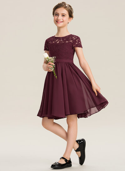 A-Line Scoop Neck Knee-Length Chiffon Lace Junior Bridesmaid Dress With Bow(s)