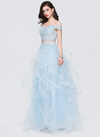 A-Line/Princess Off-the-Shoulder Floor-Length Tulle Prom Dresses With Sequins