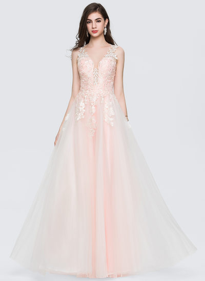 A-Line/Princess V-neck Floor-Length Tulle Prom Dresses With Beading Sequins
