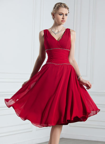 A-Line/Princess V-neck Knee-Length Chiffon Holiday Dress With Ruffle Beading