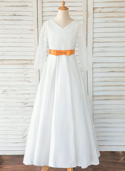 A-Line Floor-length Flower Girl Dress - Satin/Lace Long Sleeves Scoop Neck With Sash/Bow(s) (Detachable sash)