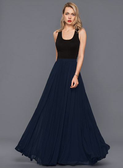 A-Line/Princess Floor-Length Chiffon Cocktail Dress With Pleated
