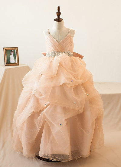 Ball Gown Floor-length Flower Girl Dress - Organza/Tulle Sleeveless Straps With Bow(s)/Rhinestone