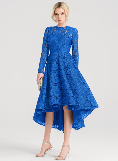 A-Line/Princess Scoop Neck Asymmetrical Lace Cocktail Dress