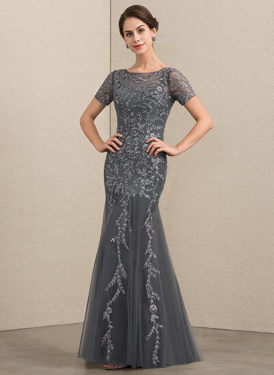 Trumpet/Mermaid Scoop Neck Floor-Length Tulle Lace Mother of the Bride Dress With Beading Sequins