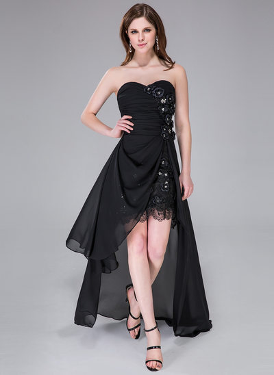 A-Line/Princess Sweetheart Asymmetrical Chiffon Holiday Dress With Ruffle Lace Beading Flower(s) Sequins