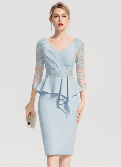 Sheath/Column V-neck Knee-Length Stretch Crepe Cocktail Dress With Appliques Lace Cascading Ruffles