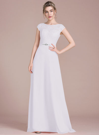A-Line/Princess Scoop Neck Floor-Length Chiffon Lace Prom Dresses With Beading Bow(s)