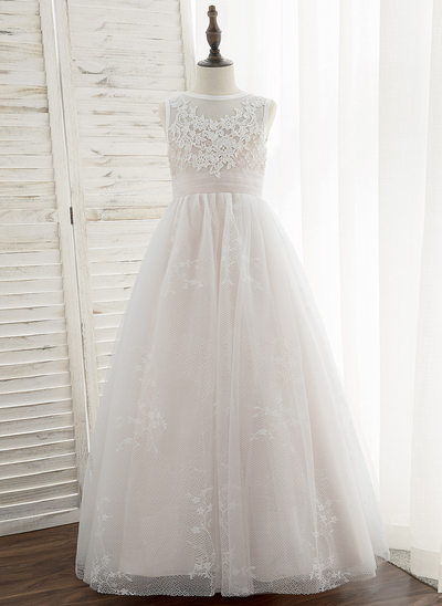 Ball-Gown/Princess Floor-length Flower Girl Dress - Tulle/Lace Sleeveless Scoop Neck With Sequins