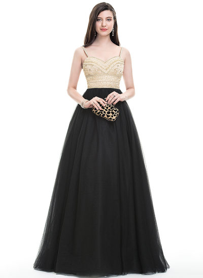 Ball-Gown Sweetheart Floor-Length Tulle Prom Dresses With Beading Sequins