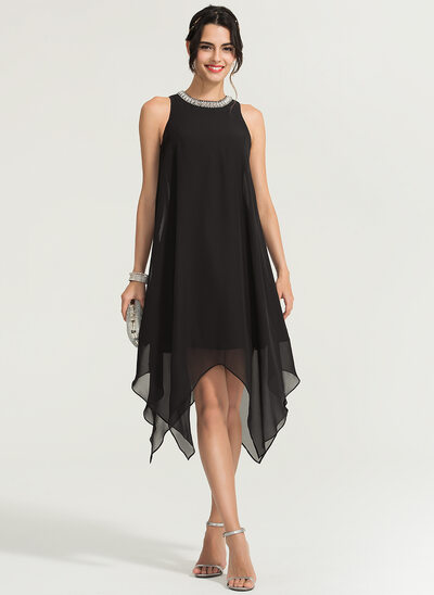 A-Line/Princess Scoop Neck Asymmetrical Chiffon Cocktail Dress With Beading