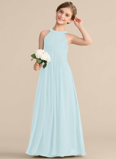 A-Line/Princess Scoop Neck Floor-Length Chiffon Lace Junior Bridesmaid Dress With Ruffle Beading