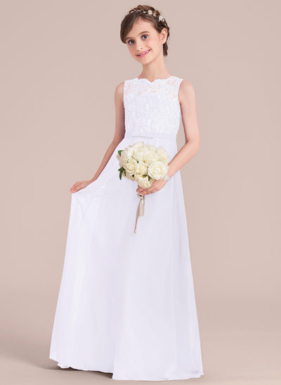 A-Line/Princess Scoop Neck Floor-Length Chiffon Junior Bridesmaid Dress With Bow(s)