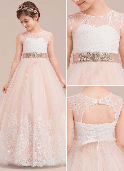 Ball-Gown/Princess Floor-length Flower Girl Dress - Satin/Tulle/Lace Sleeveless Scoop Neck With Rhinestone/Back Hole