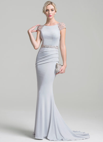 Trumpet/Mermaid Scoop Neck Sweep Train Jersey Evening Dress With Ruffle Beading Sequins