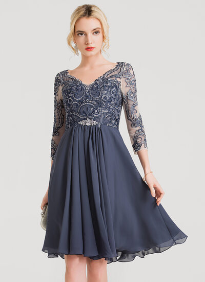 A-Line/Princess V-neck Knee-Length Chiffon Cocktail Dress With Beading