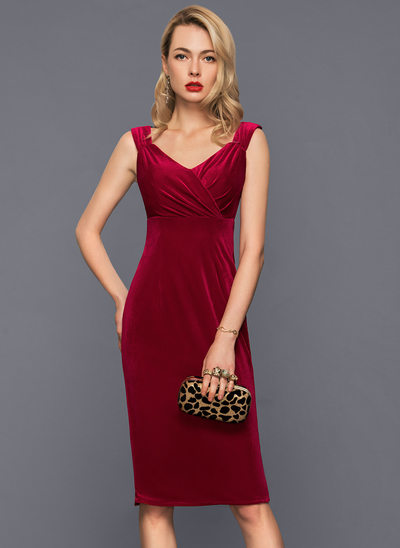 Sheath/Column V-neck Knee-Length Velvet Cocktail Dress With Ruffle