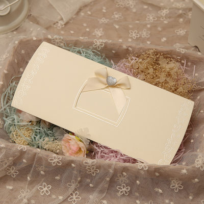 Classic Style Top Fold Invitation Cards With Bows/Ribbons