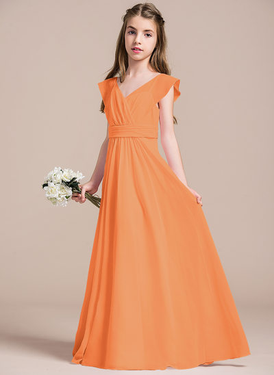 A-Line/Princess V-neck Floor-Length Chiffon Junior Bridesmaid Dress With Ruffle
