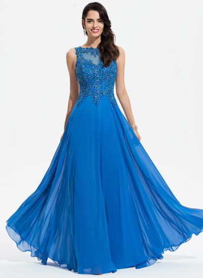 A-Line Scoop Neck Floor-Length Chiffon Evening Dress With Lace Beading
