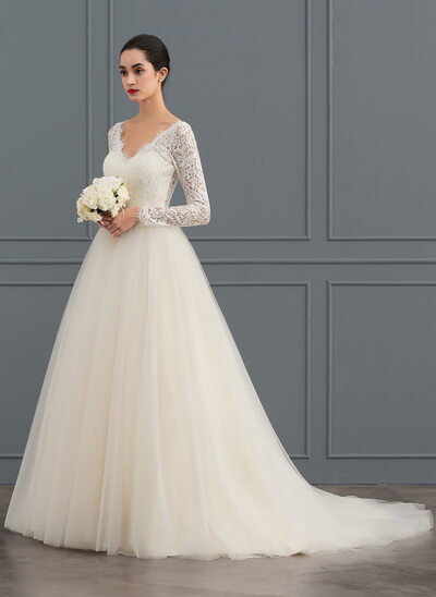 Ball-Gown V-neck Court Train Tulle Lace Wedding Dress