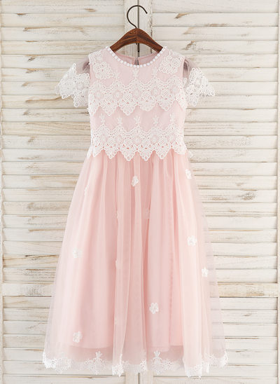 A-Line Tea-length Flower Girl Dress - Tulle/Lace Short Sleeves Scoop Neck With Flower(s)