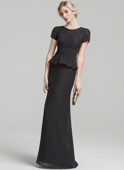Trumpet/Mermaid Scoop Neck Floor-Length Chiffon Mother of the Bride Dress With Ruffle Beading Sequins