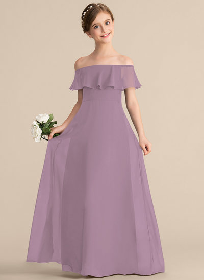 A-Line/Princess Off-the-Shoulder Floor-Length Chiffon Junior Bridesmaid Dress With Cascading Ruffles
