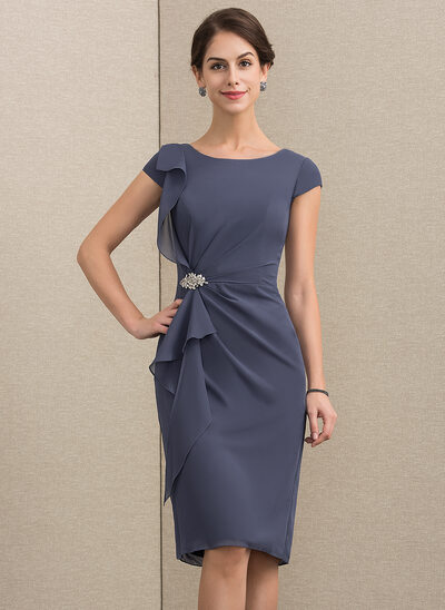 Sheath/Column Scoop Neck Knee-Length Chiffon Mother of the Bride Dress With Beading Cascading Ruffles