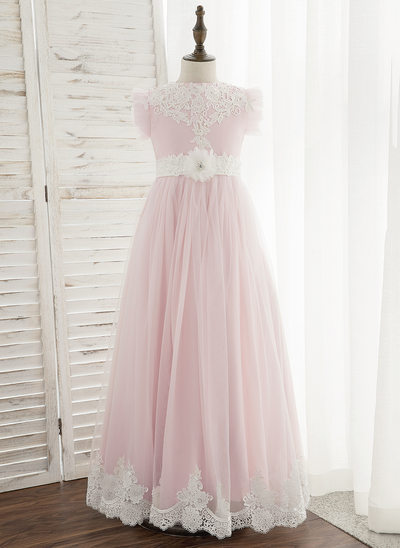 Ball-Gown/Princess Floor-length Flower Girl Dress - Chiffon/Tulle/Lace Sleeveless Scoop Neck With Flower(s)