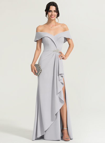 Sheath/Column Off-the-Shoulder Floor-Length Stretch Crepe Prom Dresses With Beading Split Front Cascading Ruffles